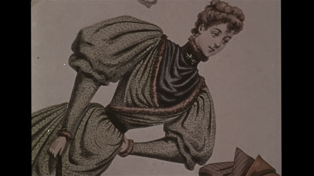 illustrations of women w/ cinched whalebone corset waistlines. vs antique whaling painting. illustration woman in sleeping gown. 1920s photograph:... - illustration stock videos & royalty-free footage