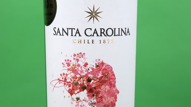 illustrative editorial clip of a bottle of red chilean wine branded 'santa carolina' seen on march 18, 2021; in toronto, ontario, canada. studio shot... - copy space stock videos & royalty-free footage