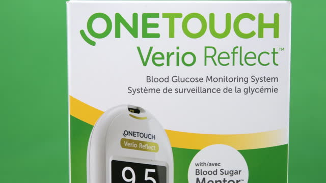 illustrative editorial clip of a onetouch verio reflect blood glucose monitoring system seen on march 18, 2021; in toronto, ontario, canada. studio... - copy space stock videos & royalty-free footage