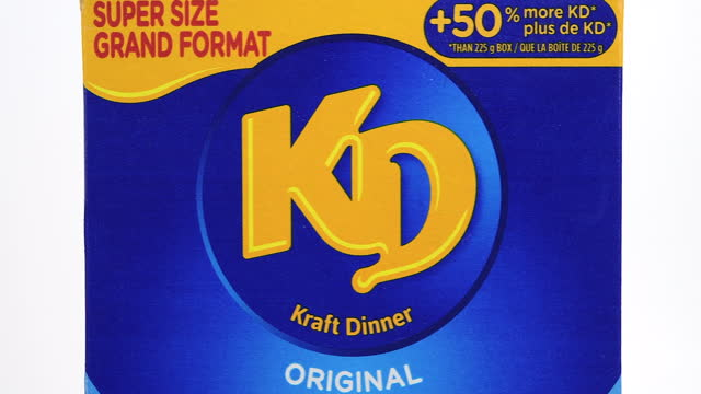 illustrative editorial of a box of kraft dinner original macaroni and cheese on march 18, 2021; in toronto, ontario canada, - white background stock videos & royalty-free footage