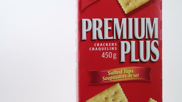 illustrative editorial of a box of premium plus crackers by christie on march 18, 2021; in toronto, ontario canada, - white background stock videos & royalty-free footage