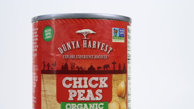 illustrative editorial of a can of organic chickpeas branded dunya harvest on march 18, 2021; in toronto, ontario canada, - white background stock videos & royalty-free footage