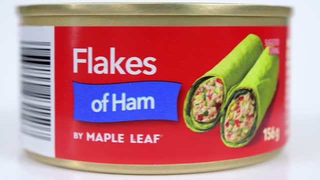 illustrative editorial of a maple leaf branded can of flakes of ham on march 18, 2021; in toronto, ontario canada, - front view stock videos & royalty-free footage