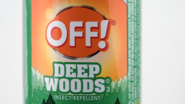 illustrative editorial of a spray of off! branded insect repellent container on march 18, 2021; in toronto, ontario canada, - white background stock videos & royalty-free footage