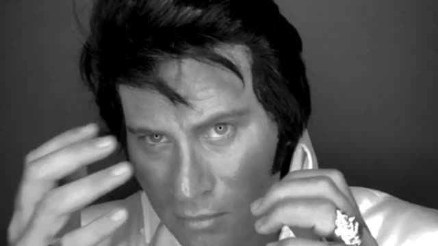 image has been converted to black and white) elvis tribute artist pheonix dean a lorry driver from surrey poses during a portrait session at 'the... - tribute event stock videos & royalty-free footage