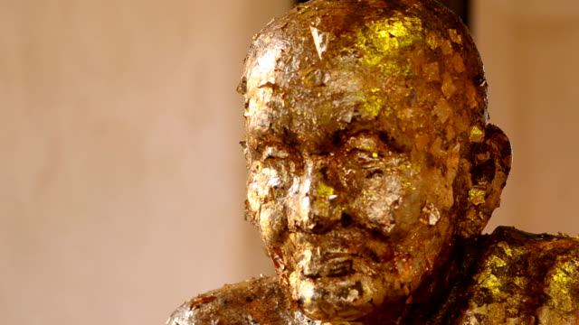 image of famous monk is decorated with gold leaf - sculpture stock videos and b-roll footage