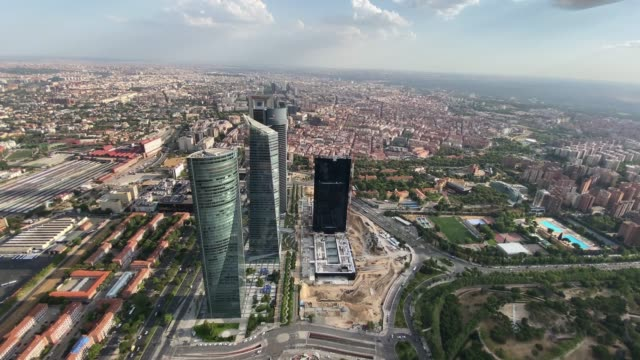 stockvideo's en b-roll-footage met image of helicopter flight over the city of madrid spain on july 22, 2020 - spanje