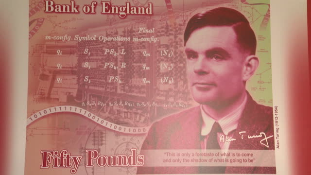 stockvideo's en b-roll-footage met image of what the new fifty pound banknote will look like with alan turing on it, bank of england, london - alan turing