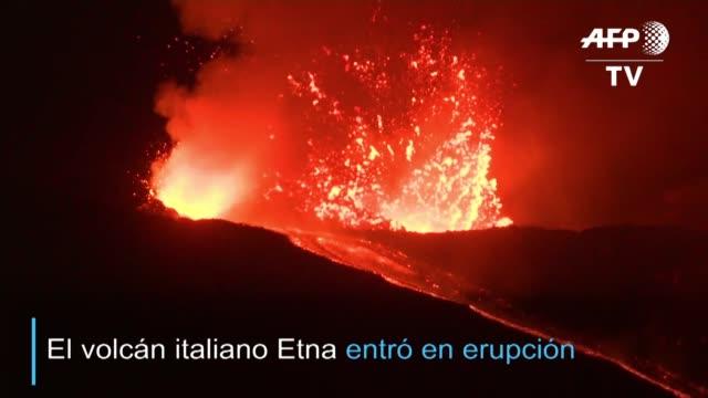imagenes tomadas en la madrugada del viernes muestran rios de lava saliendo del coloso ubicado en la costa este de sicilia - lava stock videos & royalty-free footage