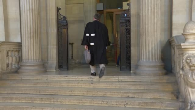 images from outside the court as a trial for the ghosts of jihad draws to a close in paris - justice concept stock videos & royalty-free footage