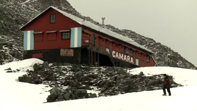 images of argentinas research station teniente camara on antarctica located on the half moon island of the south shetland islands where a group of... - antarctica research stock videos & royalty-free footage