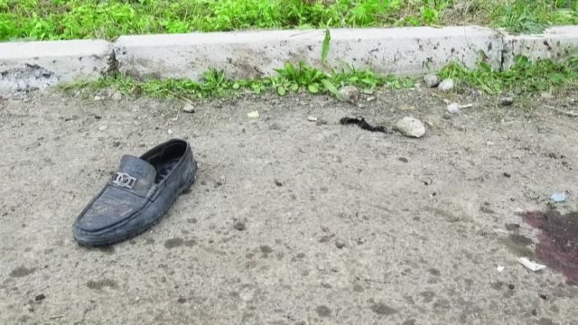 images of blood in the streets and damaged buildings in the aftermath of shelling in azerbaijan's tartar district bordering nagorny karabakh - plaque bacteria stock videos & royalty-free footage