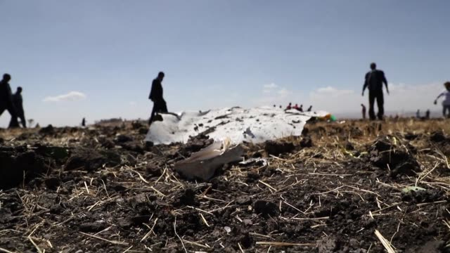 images of debris at the crash site of the ethiopian airlines boeing 737 near bishoftu a town some 60 kilometres southeast of addis ababa ethiopia - boeing stock videos & royalty-free footage