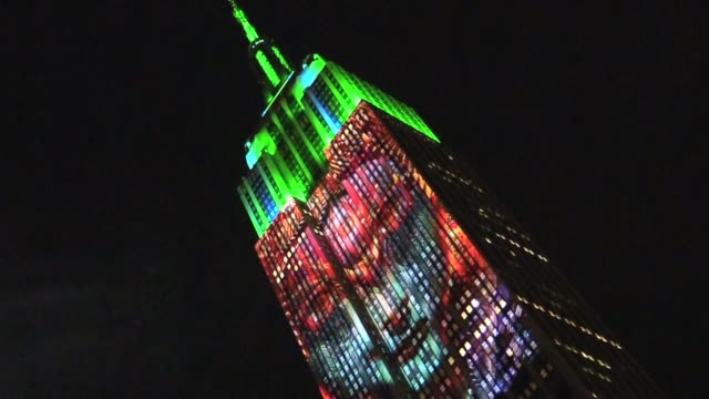 Images of endangered species projected on Empire State Building crowds watch