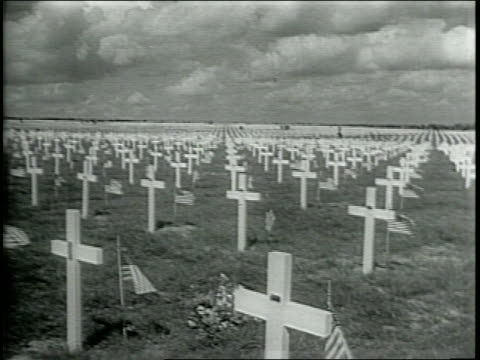 images of military cemetery / eisenhower comments on american involvement in wwii / eisenhower implores a new generation to enlist - general military rank stock videos and b-roll footage