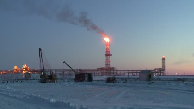 Images of Russia's $27 billion liquefied natural gas plant in the snow covered plains of the Arctic