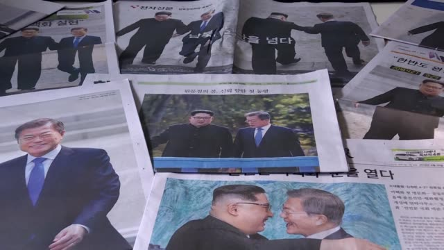 images of south korean newspapers images the day after a historic summit between the north korean leader kim jong un and the south korean president... - peninsula stock videos & royalty-free footage