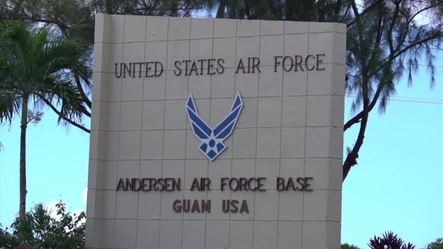 images of the entrance of the us andersen air force base on guam - guam video stock e b–roll