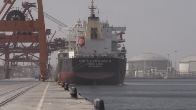 images of the port of fujairah in the united arab emirates filmed after four commercial vessels of various nationalities were targeted by acts of... - sabotage stock videos & royalty-free footage