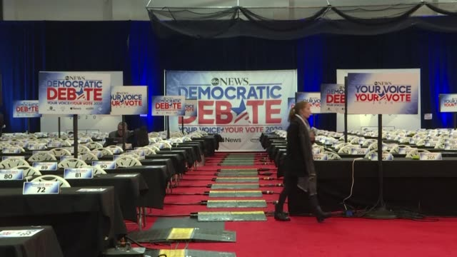 images of the venue and media filing center at st anselm college in manchester new hampshire where seven democratic presidential candidates will take... - debate stock videos & royalty-free footage