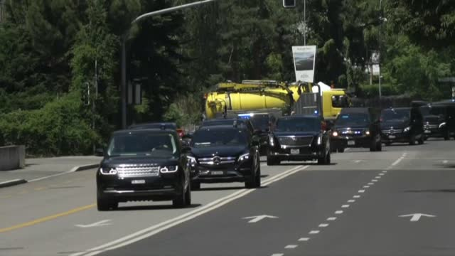 images of us president joe biden's convoy leaving the intercontinental hotel in geneva and heading to the villa la grange where he is meeting russian... - intercontinental hotels group stock videos & royalty-free footage