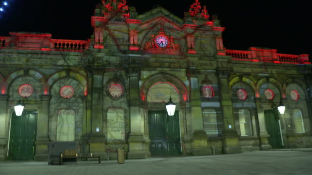 images projected onto accrington market hall to commemorate the armistice day centenary - armistice stock videos and b-roll footage