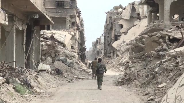 images show destroyed buildings in the hajar al-aswad district on the southern outskirts of damascus after the syrian army announced it was in... - last stock videos & royalty-free footage
