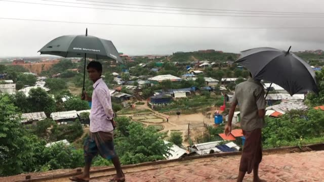 images show the aftermath of deadly monsoon rains flooding and mudslides that left at least 10 people dead and destroyed about 5000 shelters in... - rohingya culture stock videos and b-roll footage