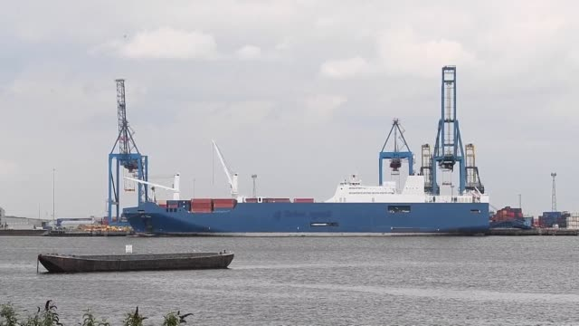 images show the bahri yanbu ship docked in the uk after french secretary of state for the armed forces dodged a question from parliamentarians... - weaponry stock videos & royalty-free footage