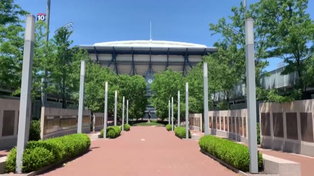 images show the billie jean king national tennis center, in flushing meadows, in queens, new york, where the us open tennis championship takes place... - flushing meadows corona park stock videos & royalty-free footage