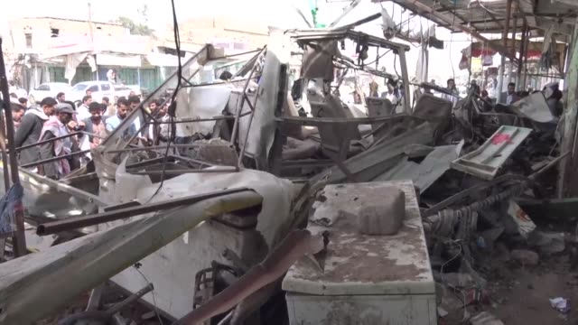 images show the wreckage of the attacked bus carrying children in yemen's saada - yemen stock videos and b-roll footage