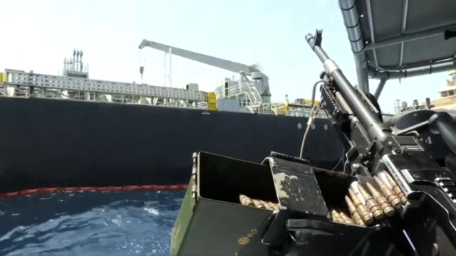 images taken during a guided tour by the us navy show the japanese oil tanker kokuka courageous off the port of the gulf emirate of fujairah - golfstaaten stock-videos und b-roll-filmmaterial