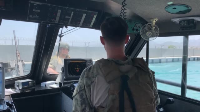 images taken during a guided tour by the us navy show the norwegian operated tanker front altair off the coast of port of fujairah which came under... - marina personale militare video stock e b–roll