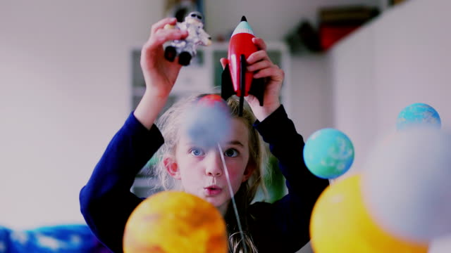 imaginative little girl - astronaut stock videos & royalty-free footage