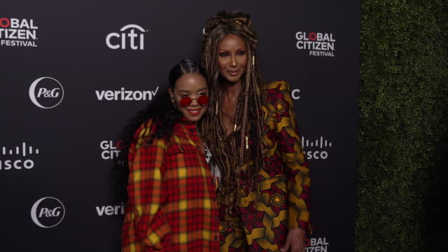 iman says empowering women and girls, especially in africa, they re-invest it into the country at 2019 global citizen festival at central park, great... - celebritet bildbanksvideor och videomaterial från bakom kulisserna