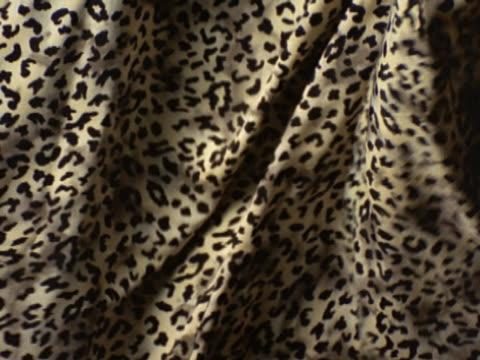 imitation tan and black leopard-print fabric waving - ヒョウ点の映像素材/bロール
