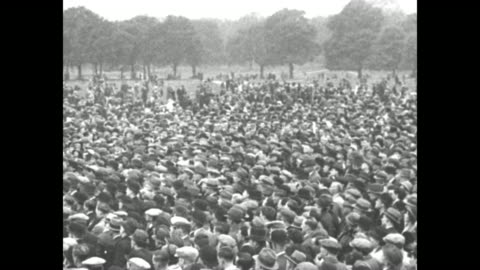 immense crowds outdoors / us assistant secretary of state raymond moley speaks / note: exact day not known; documentation incomplete - great depression stock videos & royalty-free footage