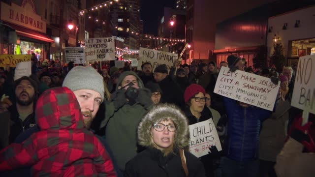 immigrants and supporters protest the the travel restrictions the us government has placed on citizens from certain countries in the middle east - exclusion stock videos & royalty-free footage