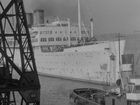 Immigrants from the West Indies arrive at Southampton docks on a passenger ship