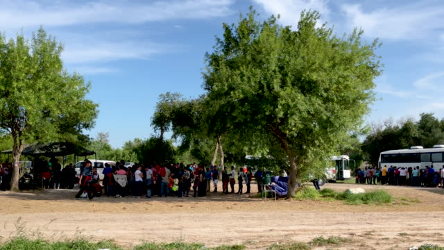 immigrants wait to be bussed to u.s. border patrol facility in mcallen after crossing the rio grande from mexico on july 02, 2019 to los ebanos,... - mcallen texas stock videos & royalty-free footage