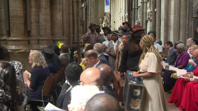 70th anniversary of the arrival of the windrush generation england london westminster abbey int various of service to mark the 70th anniversary of... - hmt empire windrush stock videos & royalty-free footage