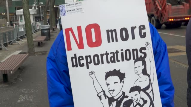 Immigration activists clergy members and supporters gathered at Foley Square in lower Manhattan to protest the detention of popular immigrant...