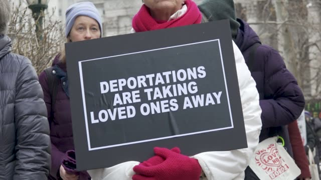 immigration activists clergy members and supporters gathered at foley square in lower manhattan to protest the detention of popular immigrant... - department of homeland security stock videos & royalty-free footage