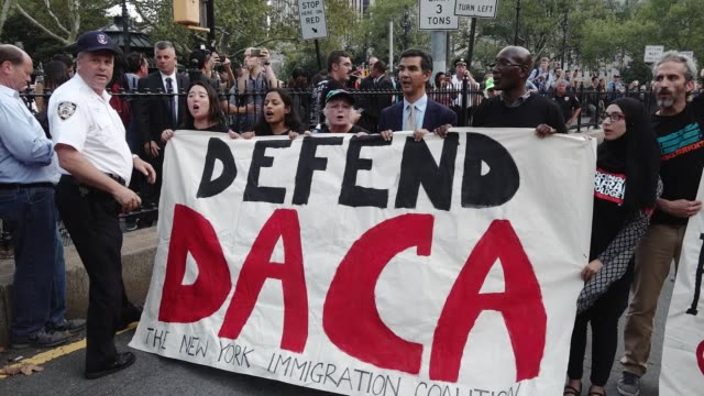 Immigration advocates and supporters rallied in Foley Square to protest Attorney General Jeff Sessions' announcement to end of the Deferred Action...