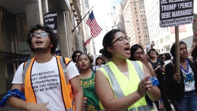 Immigration advocates and supporters rallied in front the 5th Avenue Trump Tower in Midtown Manhattan to protest Attorney General Jeff Sessions'...