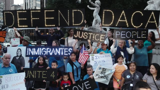 Immigration advocates and supporters rallied in Midtown Manhattan's Columbus Circle near the Trump Tower International Hotel in support of DACA...