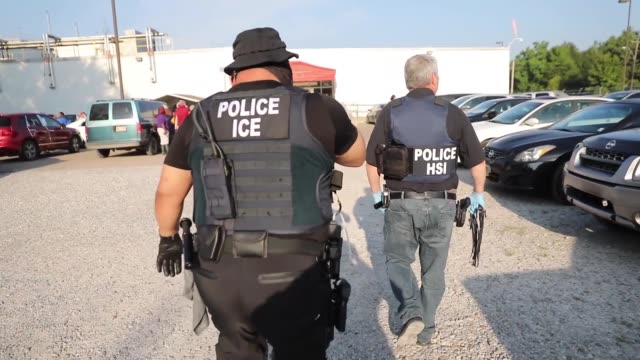 immigration and customs enforcement conducted a worksite enforcement operation in canton, mississippi. - law stock videos & royalty-free footage