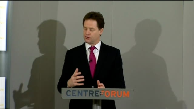clegg proposes security bond for new immigrants; int nick clegg mp speech sot - mainstream has a duty to wrestle away from populists and extremists - ポピュリズム点の映像素材/bロール