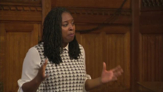 diane abbott hosts windrush event at parliament dawn butler mp speech sot diane abbott speaking sot - mp stock videos & royalty-free footage