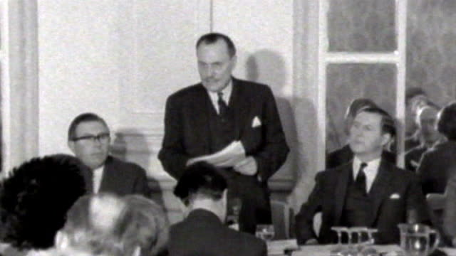 government warned about effects of rise in eastern european immigrants fs200468052 birmingham midland hotel int enoch powell mp delivering his rivers... - enoch powell stock videos & royalty-free footage